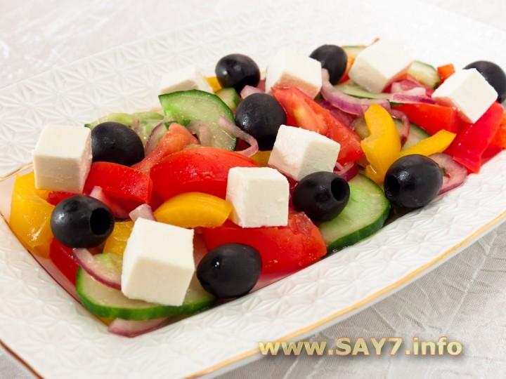 Салат греческий рецепт с сыром и ветчиной