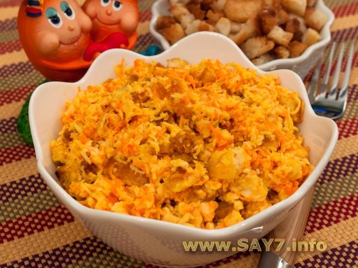 салат с крабовыми палочками и грибами и морковью рецепт #10