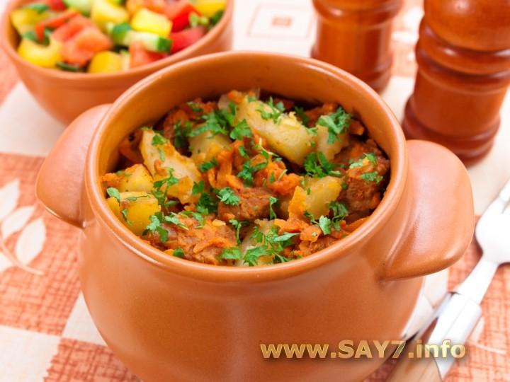 рецепт говядина с картошкой в духовке в горшочке