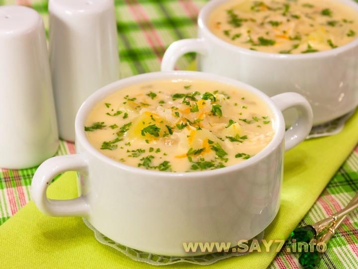 сырный суп с плавленным сыром и грибами и курицей рецепт с фото