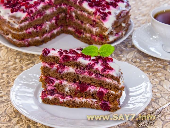 торт медовый с брусникой рецепт
