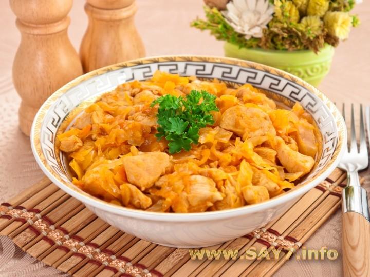 Рецепт тушеная картошка с капустой и мясом куриным