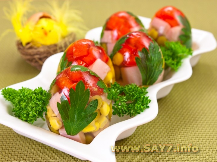 яйца заливное в скорлупе рецепты с колбасой и кукурузой