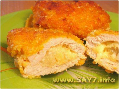 Кармашки из свинины с ананасами
