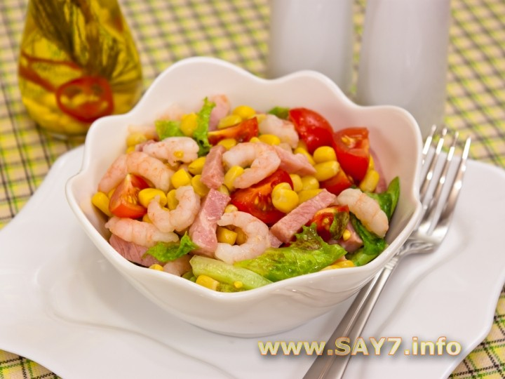 салат с креветками и помидорами и яйцом огурцом рецепт