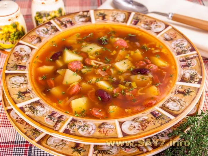 Суп с охотничьими колбасками рецепт