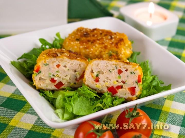 котлеты куриные с овощами в духовке рецепт с фото