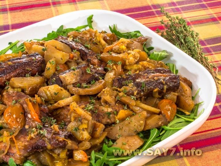 свиные ребрышки с грибами и картошкой в духовке