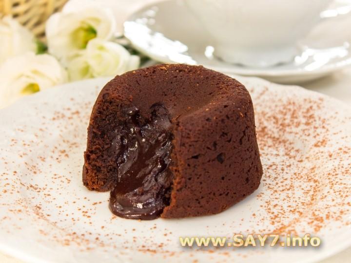 шоколадные маффины с жидкой начинкой рецепт с фото