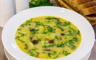 Рецепт: Сырный суп с опятами