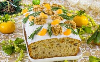 Цитрусовый кекс с цукатами и грецкими орехами